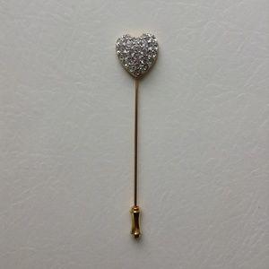 Swarovski Gold Pave Crystal Heart Stick Pin